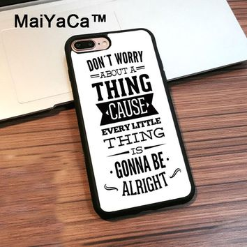 MaiYaCa Bob Marleys Three Little Birds Lyrics Soft Phone Case for Apple iphone 7 Plus Phone Back Cover Rubber Shockproof Shell