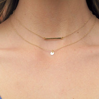 SHOP SALE - 14k Gold Plated Monogram Circle Tag Necklace