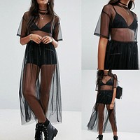 2018 Summer Hot Bikini Cover-Ups Beachdress Women Black Gauze Mesh Swimsuits Cover-Up Beach Outwear Quick Drying