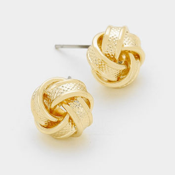 Gold Textured Knot Earrings