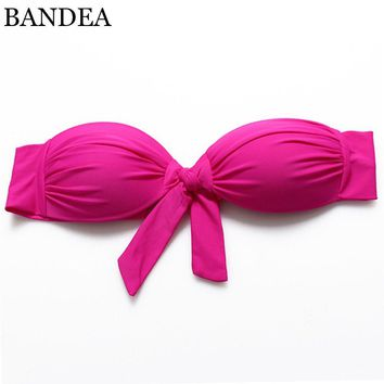Bikini Top New Women's Candy Color Bandeau bikini Bow Swimsuit Bathing Suit Biquini Swimwear Strappy Bra