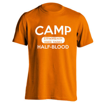 CAMP HALF-BLOOD - funny humorous book cool half blood halfblood new york percy jackson hip demigod new tee shirt - Mens Orange T-shirt 950