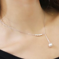 Pearl String Asymmetric Necklace (Silver) - LilyFair Jewelry