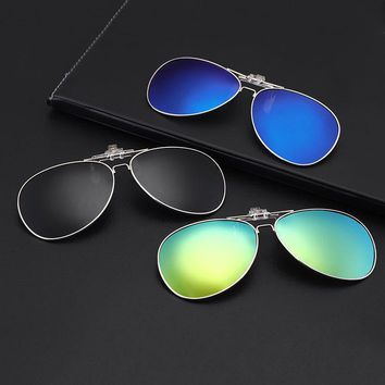 Round frame Polarized Sunglasses Clip on Myopia Glasses sports outdoor fishing Driving Night Vision Easy Flip Up Sunglass