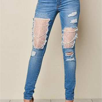 Lace and Pearl Ripped Jeans in Medium Wash | VENUS