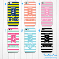 Samsung note 3 note 2 galaxy S5 S4 S3 back cover case - stripe anchor sail, personalized custom name and monogram (N05)