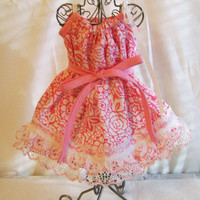 "Pink Floral Doll Dress, Pillowcase Doll Dress with Lace, 18"" Doll Dress, Gift for Girls, Handmade Doll Dress, Made in the USA, #7"