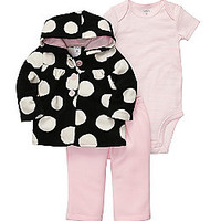 Product: Carter's® Baby Girls' Black/White 3-pc. Hooded Cardigan Set