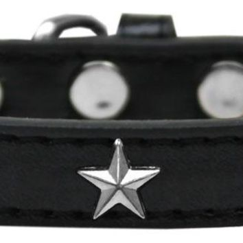 Silver Star Widget Dog Collar Black Size 18