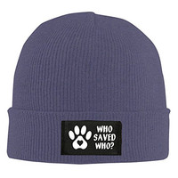 Who Rescued Who Paw Beanie Hat For Men And Women Navy