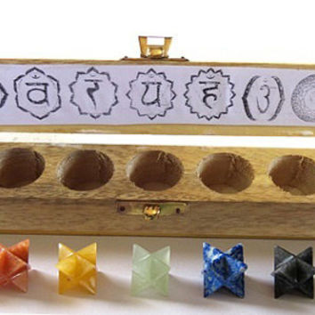 Chakra Merkaba Star set with Wooden Box,  7-piece shaped healing crystals sacred geometry stones