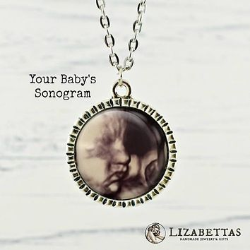 Custom Sonogram Photo Necklace Mommy to Be Ultrasound Pendant