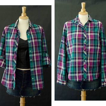 80s Plaid Shirt, Rrrrruss Brand Shirt, Women's Button Up Shirt, Fall Fashion, Long Sleeve Purple Plaid Shirt, 90s Grunge, Size Large Shirt