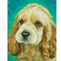 Cocker Spaniel Puppy Dog Art 8x10 Print , Painting by Dottie Dracos | LarkStudios - Reproduction on ArtFire