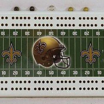 New Orleans Saints NFL 2 Track Cribbage Board