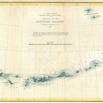 Vintage antique Print of Aleutian Islands Alaska Map on Photo Paper Matte Paper or Canvas Art Decor Giclee Art black white tan