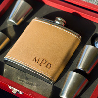 Monogrammed Leather Flask - Perfect Gifts - Engraved 6oz Stainless Steel Flask Wrapped In Leather