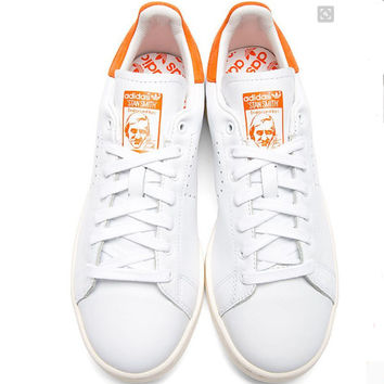 Unisex Men & Women Casual Sport Print Adidas Stan Smith Shoe Orange