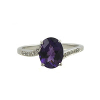 Ben Garelick 14K White Gold Fashion Ring With 1.36 Carat Amethyst and 0.07 Carat Diamonds