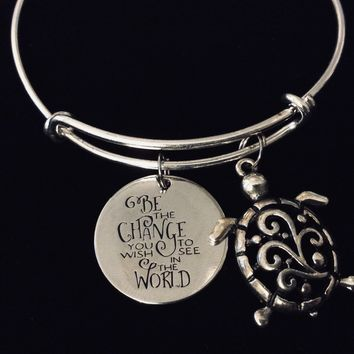 Be the Change You Wish to See in the World Adjustable Charm Bracelet Expandable Silver Bangle Turtle Jewelry One Size Fits All Gift Inspirational