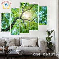 5pc/set canvas painting pictures on the wall print paintings home decor canvas wall art modular pictures no frame sun tree FH161
