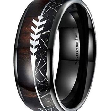 CERTIFIED 8MM Nature Real Wood Inlay Tungsten Carbide Wedding Ring