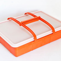 Vintage Burnt Orange Tupperware Tuppercraft Stow n Go Crafting Box with Handle, Beads Jewelry Making Organizer, Hobby Container