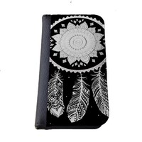 Dream catcher white lace Iphone 6 (4.7-Inch) wallet case black flip case for iPhone 6 (4.7)