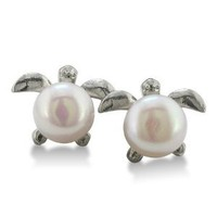 Super-Cute Turtle Shaped Freshwater Pearl Earrings