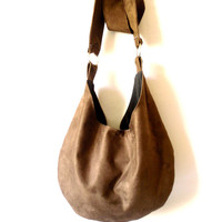 Boho bag, Hobo, Dark  Chocolate brown color, Cross body, Faux Suede