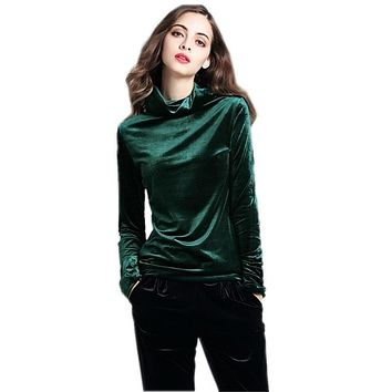 2018 Winter Plus size Turtleneck velvet Blouses Shirts Women's Autumn velour Shirts Tops Spring Velvet Blusas Top