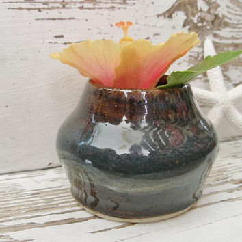 Little brown pot bowl pottery jewelry rustic dish vase ceramic