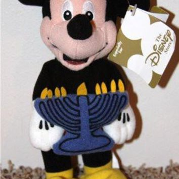 "Retired Disney Mickey Mouse Hanukkah 9"" Plush Bean Bag Doll MINT"