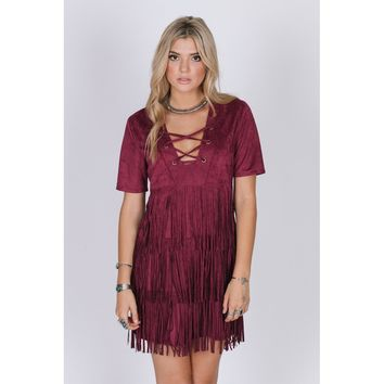 Red Plunge Neck Short Sleeve Dress