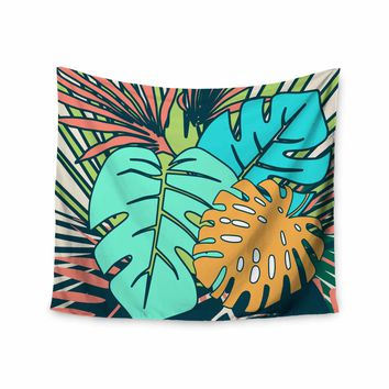 """bruxamagica """"Tropical Leaves Cream"""" Beige Green Nature Floral Digital Illustration Wall Tapestry"""