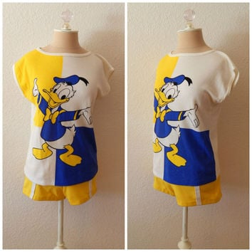 Vintage 80s Disney Donald Duck Tourist Womens Outfit Halloween Costume M L