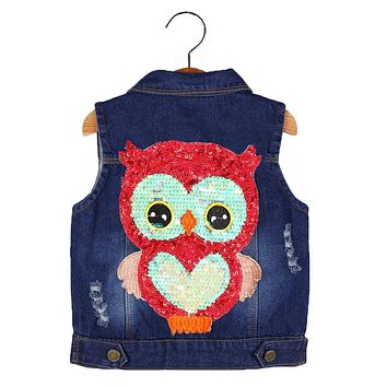 Boys denim jacket vest kids coat 2017 autumn winter boy clothes sleeveless owl denim outwear for 3-7T girls children clothing