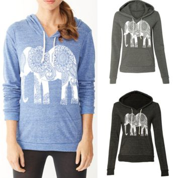 Women Hoodies Long Sleeve Print Elephant Sweatshirt Casual Basic Mujer Hoodies
