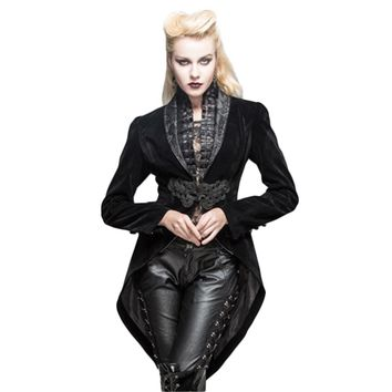 Steampunk Women Swallow Tail Jackets Coats Deep V Neck Renaissance Victorian Formal Coats Long Sleeve Outwear