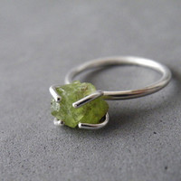 Raw Green Peridot Solitaire Ring Sterling Silver 4 Prongs Setting August Birthstone Jewelry Natural Organic Stone Ring by SteamyLab