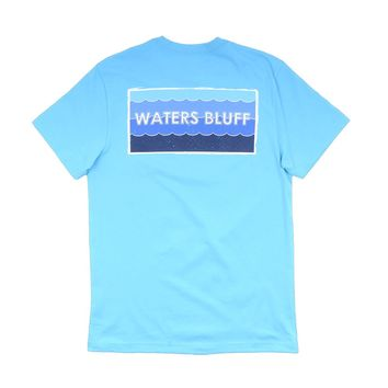 Wave Logo Tee in Lagoon Blue by Waters Bluff