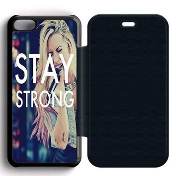 Stay Strong Demi Lovato Leather Wallet Flip Case iPhone 5C