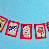 mini USA Banner, Rustic Look, United States Garland, Patriotic Images, History Teacher Gift