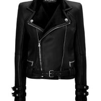 Balmain - Leather Biker Jacket with Shearling Lining