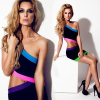 Women's Celeb Mini Bodycon Backless Hollow-out Party Neon Short Clubbing Dress SV000844 Vestidos = 1945688196
