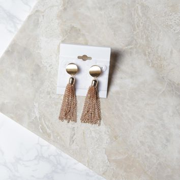 Chain Tassel Earrings, Gold