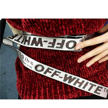 OFF WHITE Fashion new more letter women men word belt