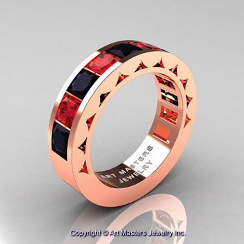 Mens Modern 14K Rose Gold Princess Black Diamond Ruby Channel Cluster Wedding Ring R274-14KRGRBD