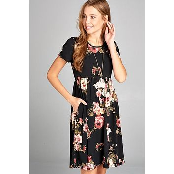Black Floral Midi Dress with Pockets
