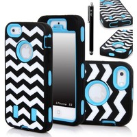 iPhone 5S Case, E LV iPhone 5S Case Hybrid Dual Layer Armor Defender Full Body Protective Case Cover for iPhone 5S Case with 1 Screen Protector, 1 Stylus and 1 Microfiber Digital Cleaner (Apple iPhone 5S, Zig Zag Blue)